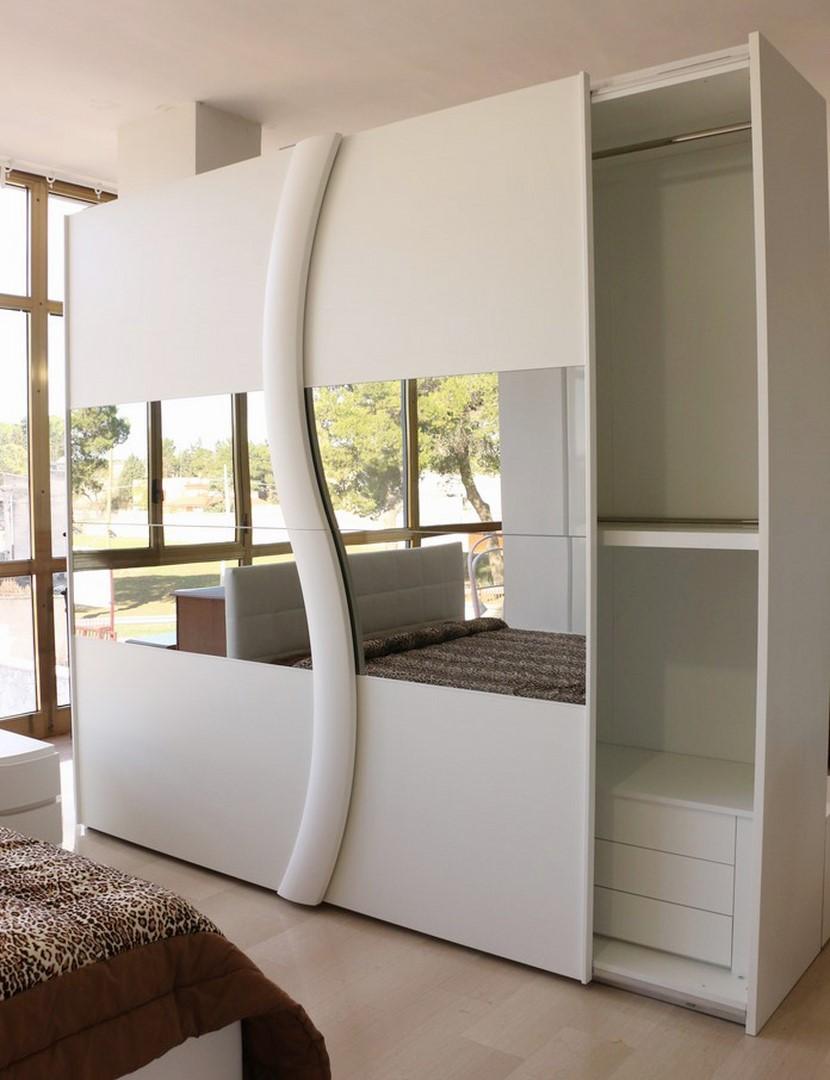 Armadio in stile moderno bianco frassinato con specchi for Armadi design moderno