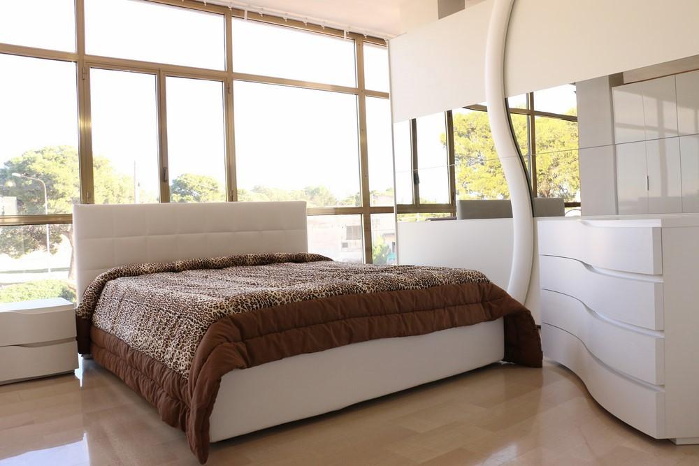 Camera da letto completa in stile moderno BIANCO FRASSINATO CON SPECCHI