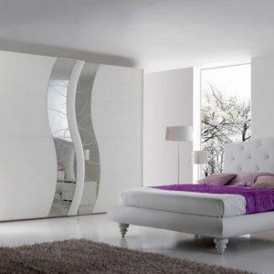 Camera da letto in stile moderno BIANCO FRASSINATO CON SPECCHI