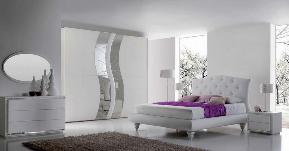 Camera da letto in stile moderno bianco frassinato con for Camere da letto