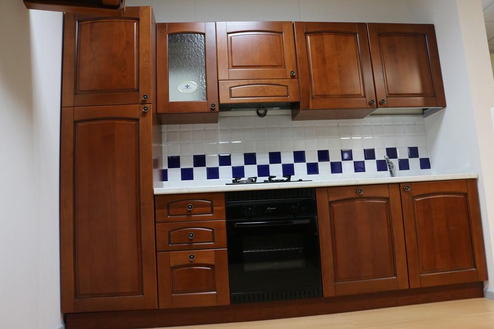 Cucina componibile lineare rustico CILIEGIO SCURO ...