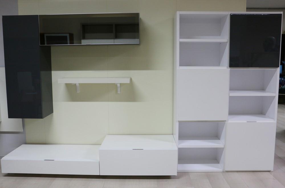 Parete soggiorno in stile moderno avorio grigio e bianco for Soggiorno stile moderno