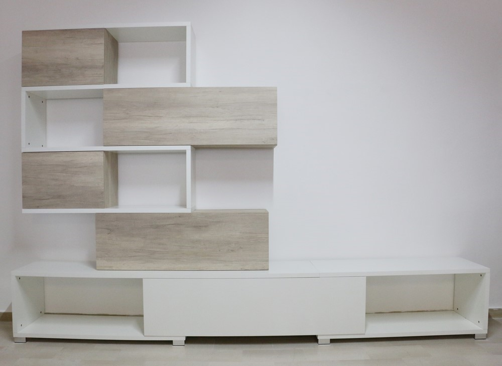 Parete soggiorno in stile moderno BIANCO-NATURA - Paternoster Home
