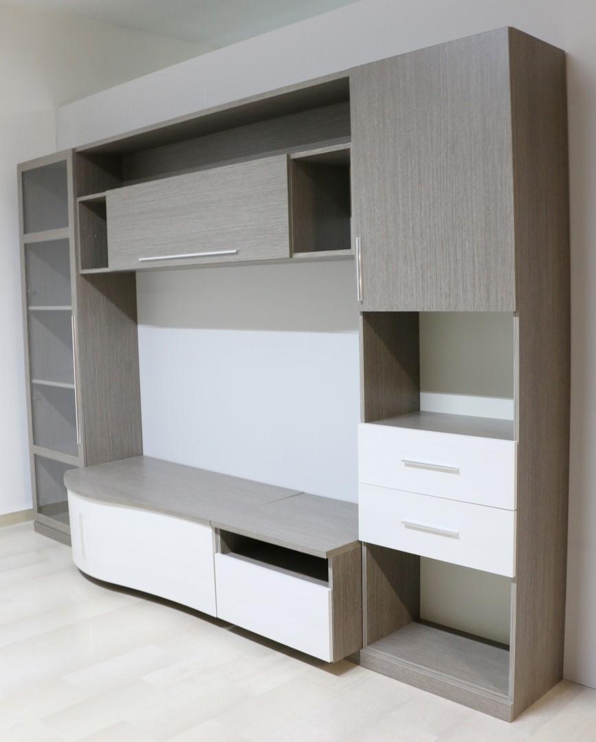Parete soggiorno in stile moderno larice grigio bianco for Soggiorno stile moderno