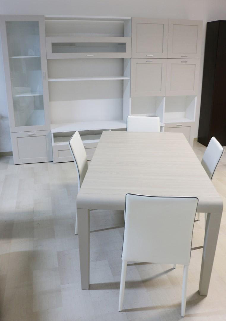 Parete soggiorno in stile moderno bianco larice tortora for Soggiorno stile moderno