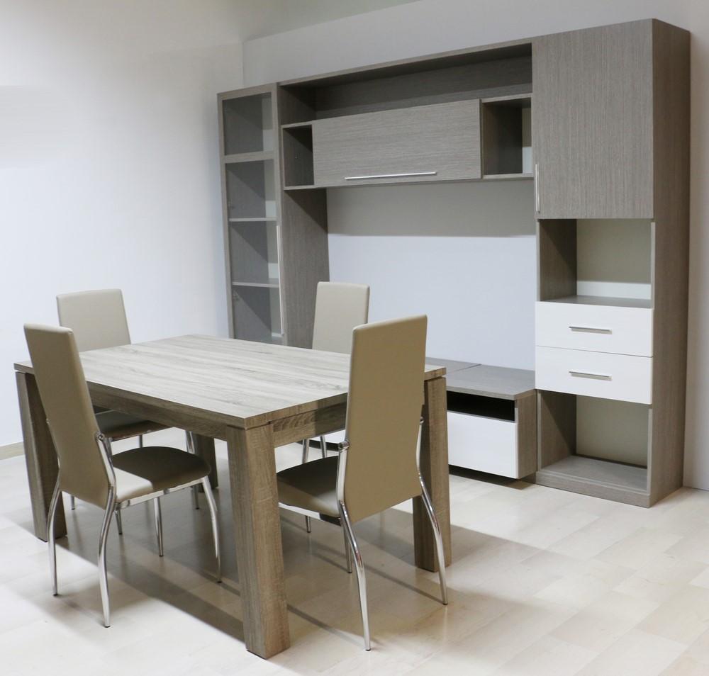 Tavolo Bianco Moderno.Parete Soggiorno In Stile Moderno Larice Bianco Grigio