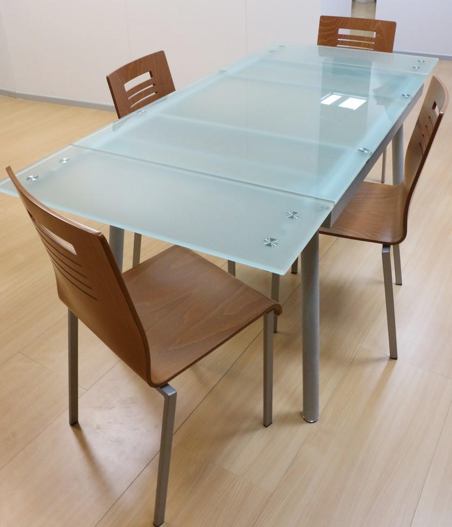 Tavolo Legno E Ferro Allungabile.Tavolo Allungabile In Ferro Vetro Alluminio Ciliegio