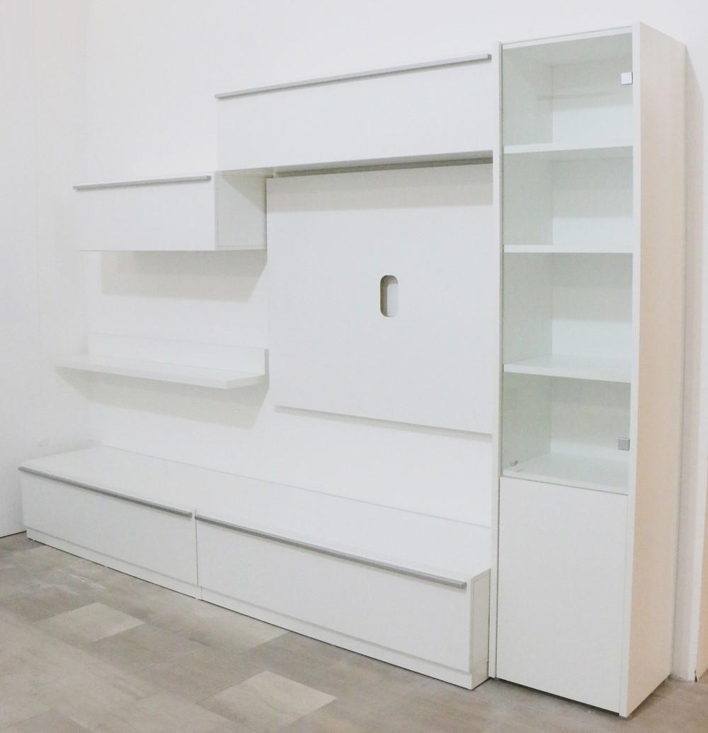 Parete soggiorno in stile moderno BIANCO OPACO - Paternoster Home
