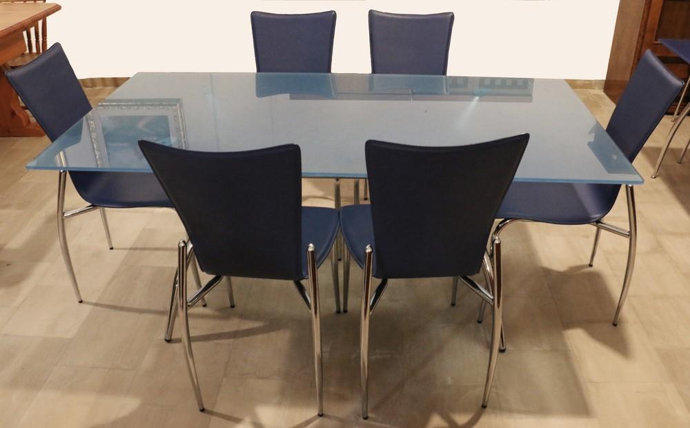 Tavolo In Vetro E Sedie.Tavolo Stile Moderno In Vetro Azzurro Cromo Paternoster Home