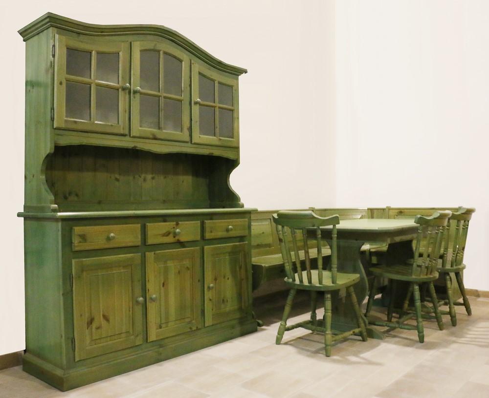 Credenza Con Vetrina In Stile : Vetrina credenza per tavernetta in stile rustico verde anticato