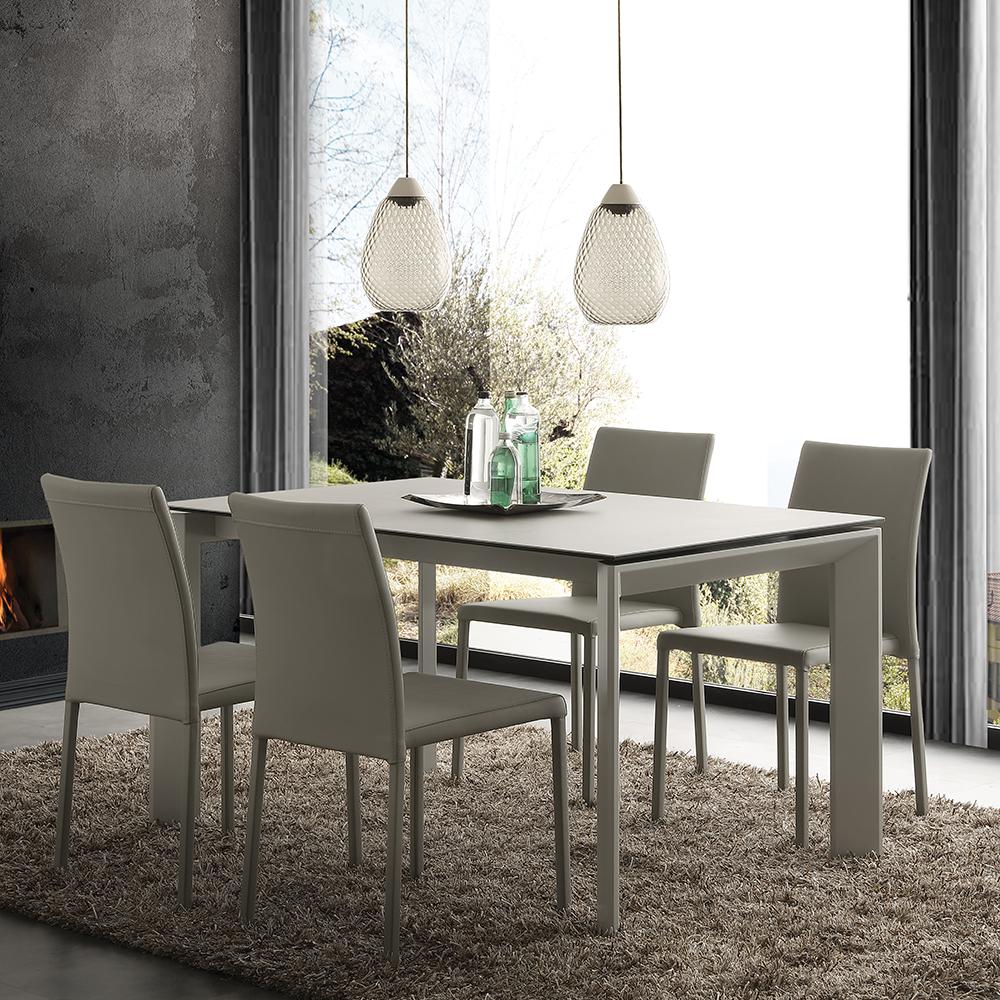 Piano In Vetro Per Tavolo.Tavolo Allungabile Stile Moderno Piano Vetro Ceramica Grigio Cemento