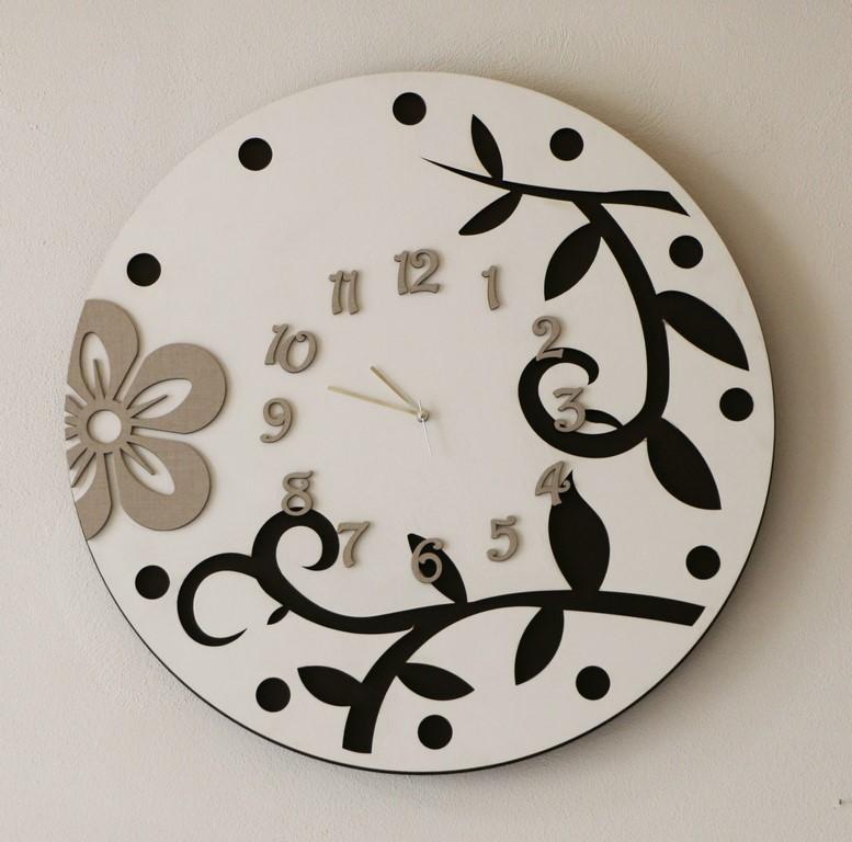 Orologio da parete moderno in legno BIANCO -TORTORA-MARRONE
