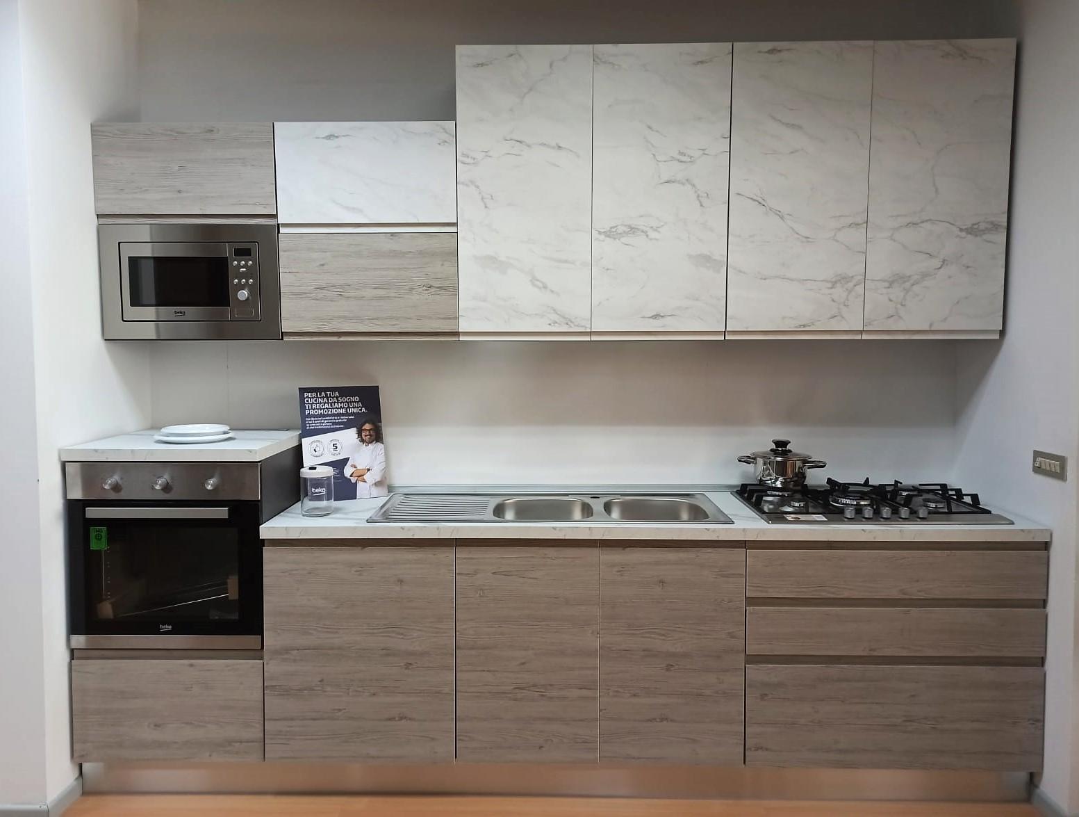 Cucina Componibile Lineare Pino Grigio Effetto Marmo Calacatta Paternoster Home